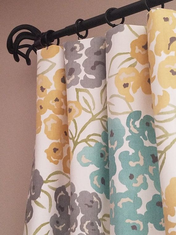 Pair Of Pretty Yellow Gray Green And Blue Drapery Curtain Panels