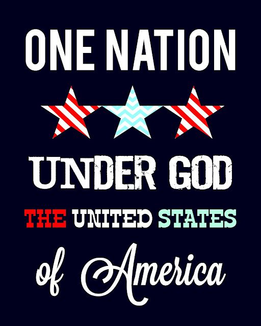 """""""I pledge allegiance to the Flag of the United States of America, and to the Republic for which it stands, one Nation under God, indivisible, with liberty and justice for all."""""""