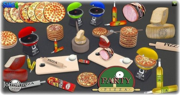 Jom Sims Creations New Pizza Party Sims 4 Downloads Sims 4 Sims Sims 4 Kitchen