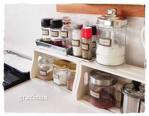セリアの木箱で調味料整理 インテリア 工夫 収納棚の作り方 セリア インテリア