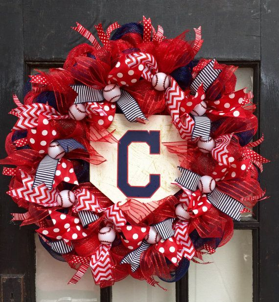 Cleveland Indians front door wreath Cleveland by WandNDesigns