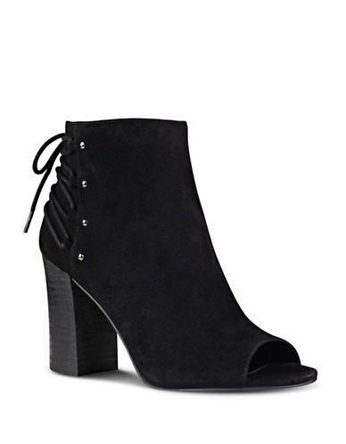 Nine West Britt Peep Toe Suede Ankle Boots Women's Black 9