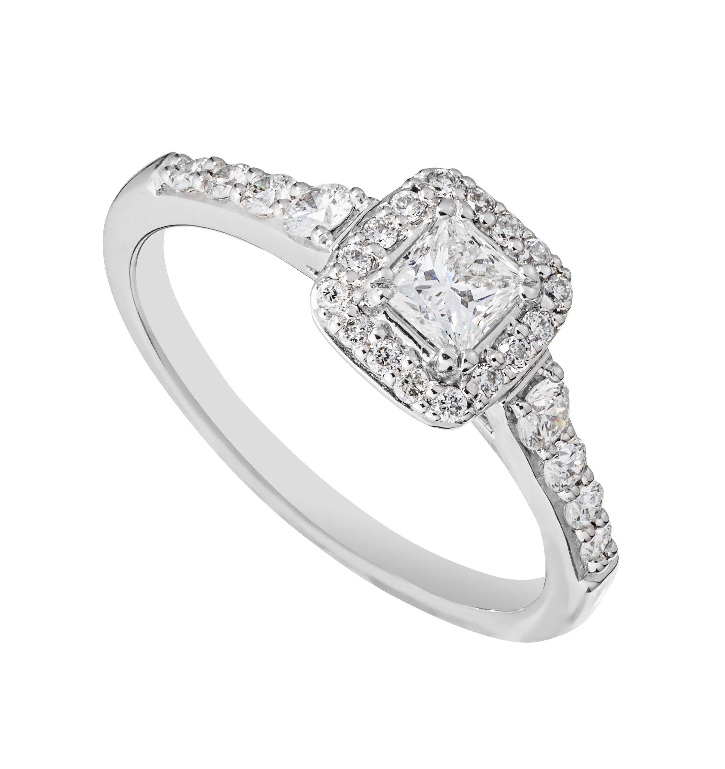 18ct white gold 0 50 carat princess cut diamond cluster ring