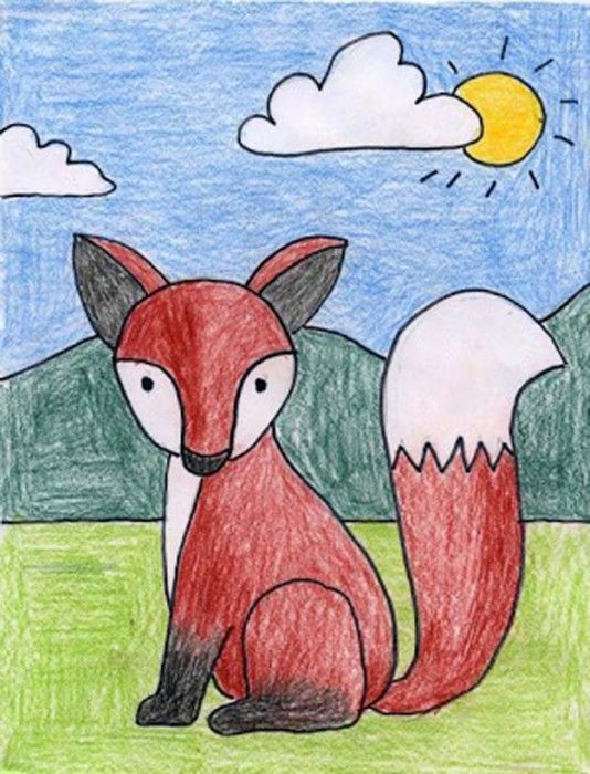 Draw a Fox | APFK Drawings | Art drawings for kids, Fox