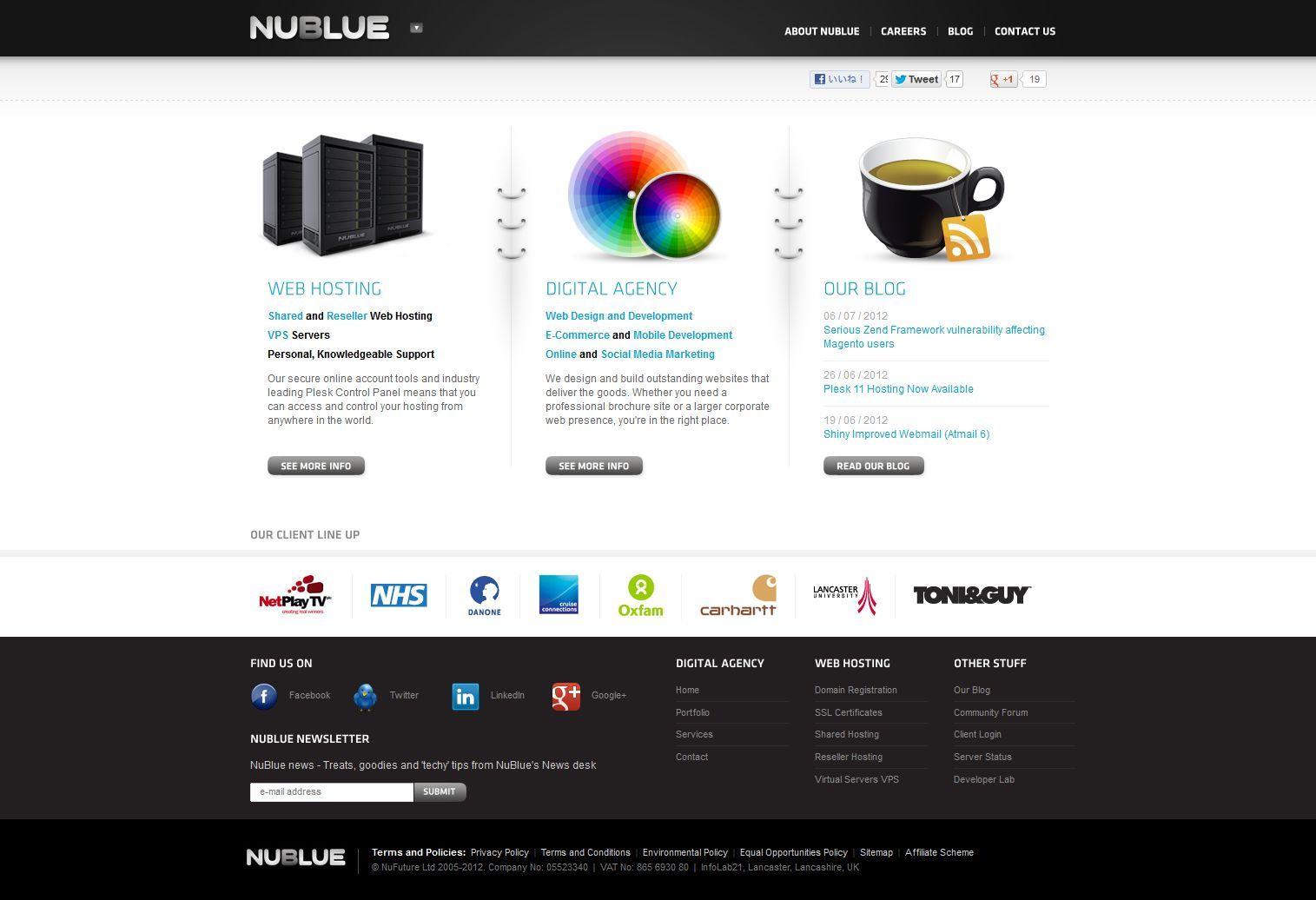 http//www.nublue.co.uk/ Web hosting design, Digital