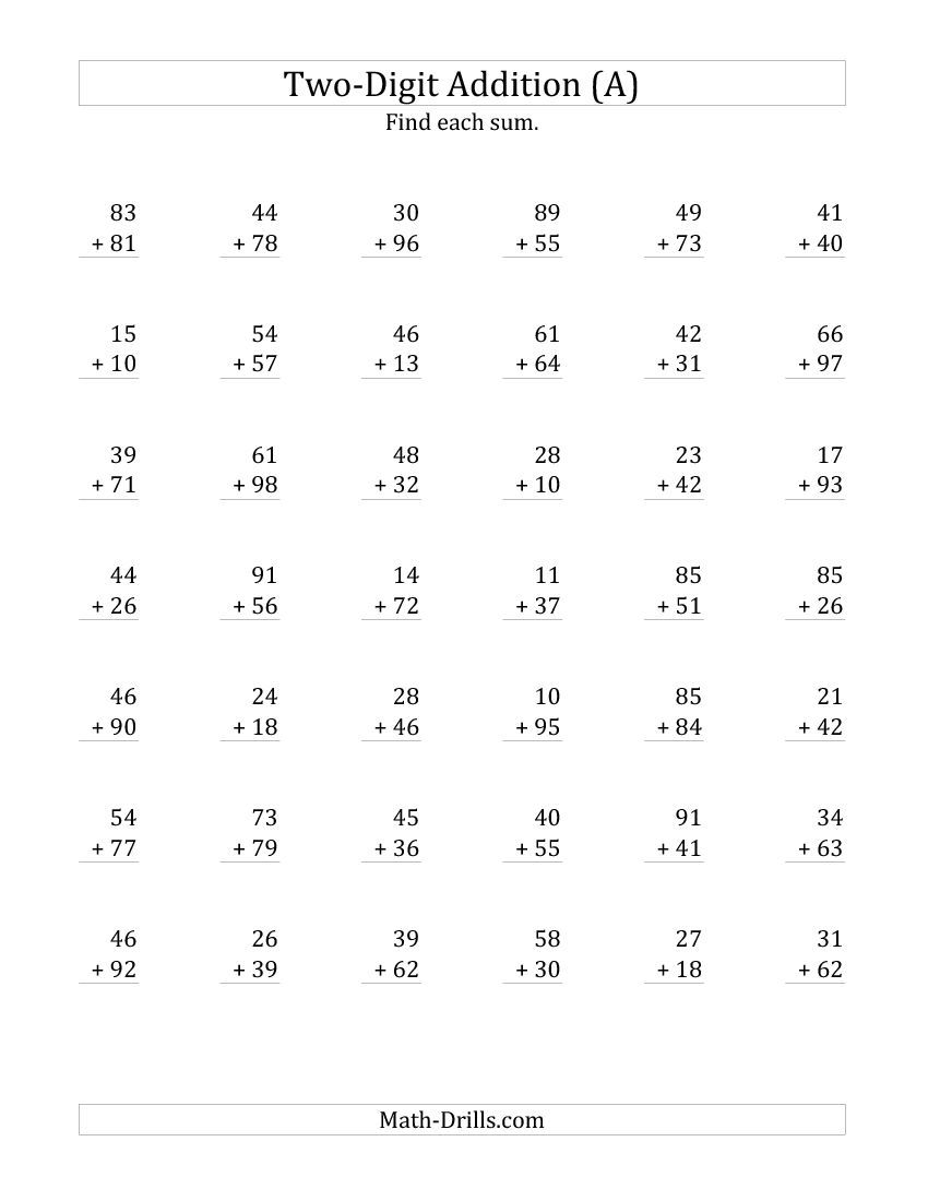 2-Digit Addition with Some Regrouping (A) Addition Worksheet   Addition  worksheets [ 1100 x 850 Pixel ]