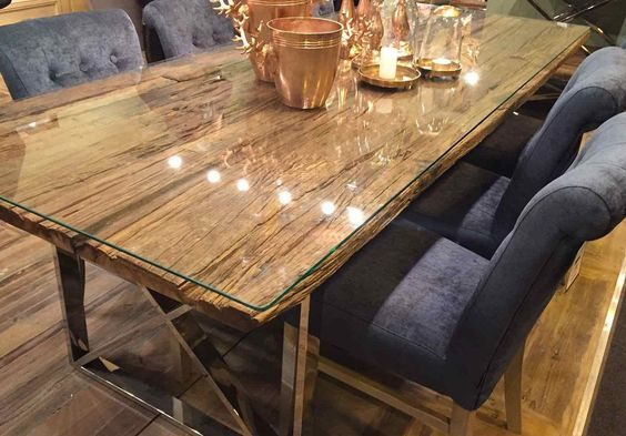 Kensington Reclaimed Wood Dining Table With Glass Top Cores