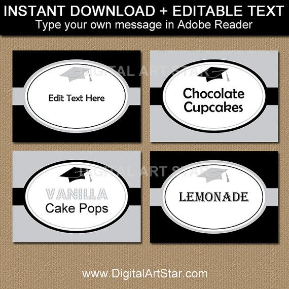 Black And Silver Graduation Candy Buffet Label Template High Etsy Candy Buffet Labels Graduation Candy Buffet Label Templates