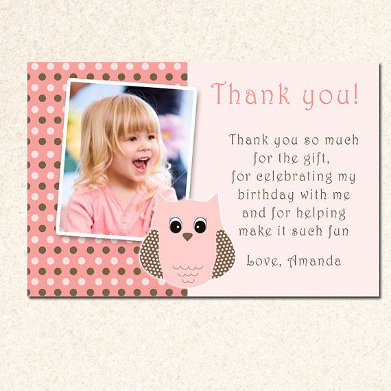 Personalized Birthday Thank You Card Or Baby Shower Owl Girl Note