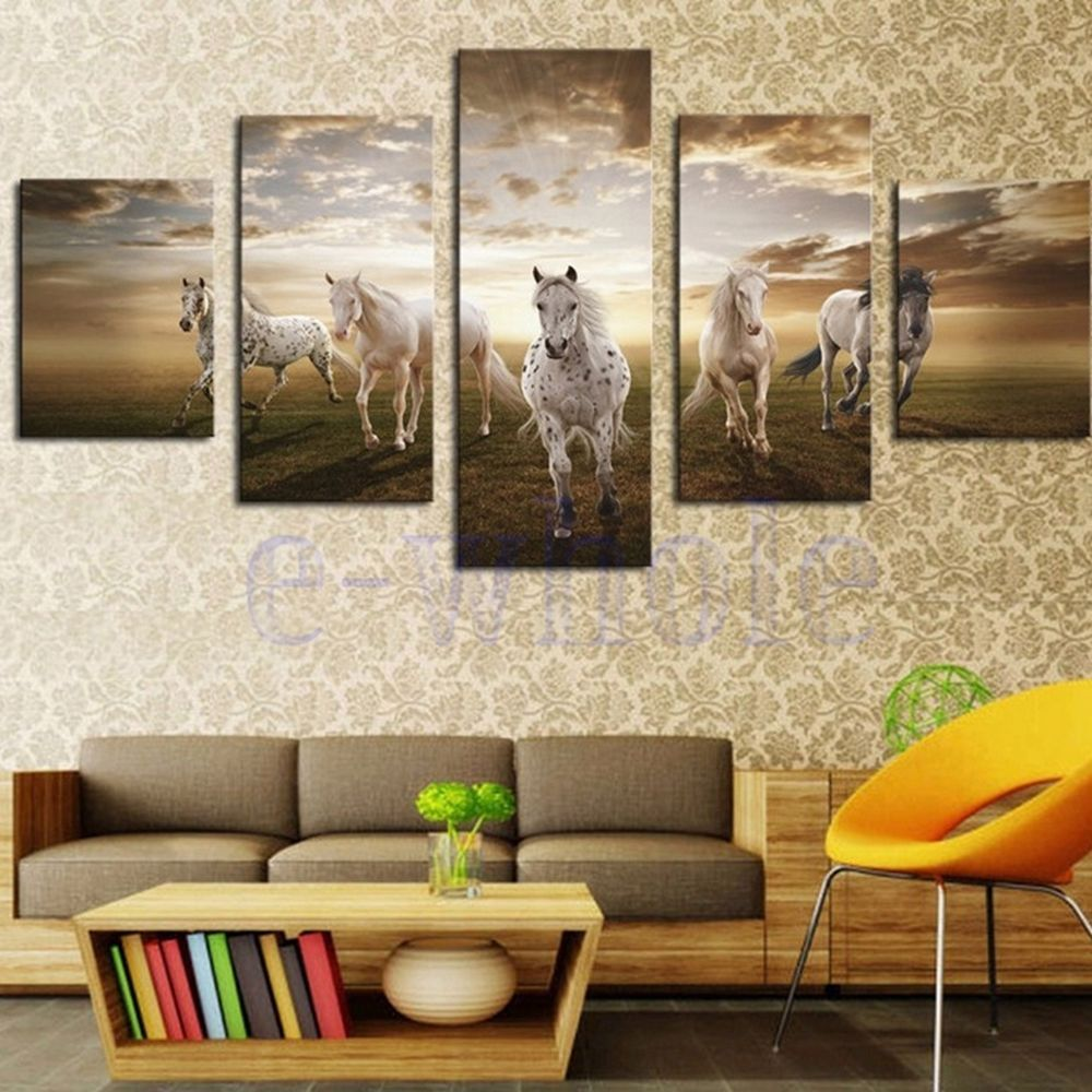 White horse wall art canvas print picture animal painting no frame