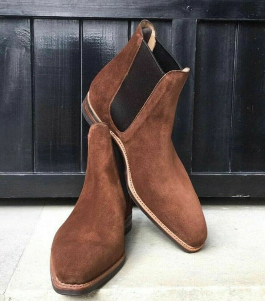 Details about mens brown square toe suede chelsea boots