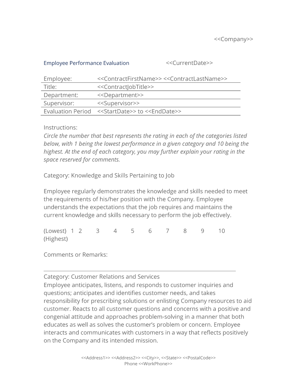 Employee Performance Evaluation Form  Use The Employee
