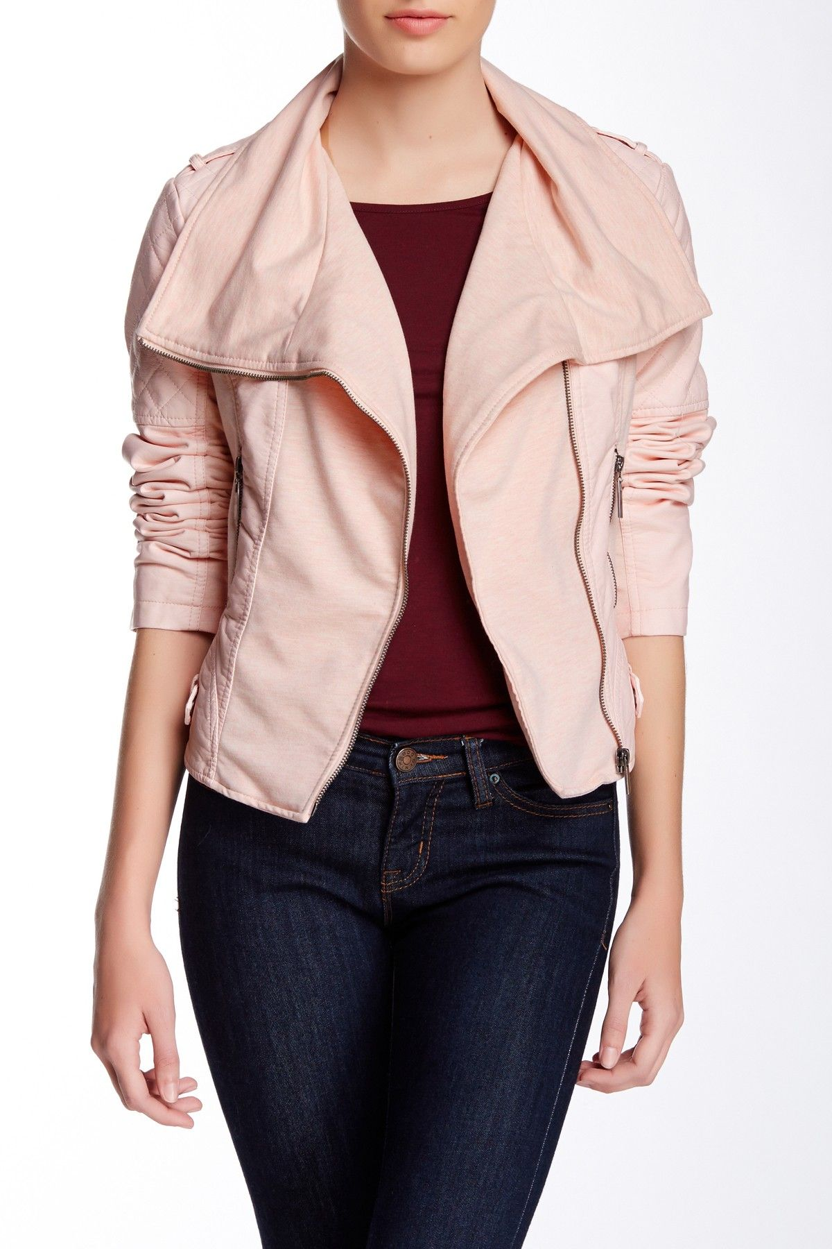 Leather jacket nordstrom rack - Bnci By Blanc Noir Quilted Pleated Cascade Moto Jacket Waterfall Jacketmoto Jacketnordstrom Rackwaterfallsblushes