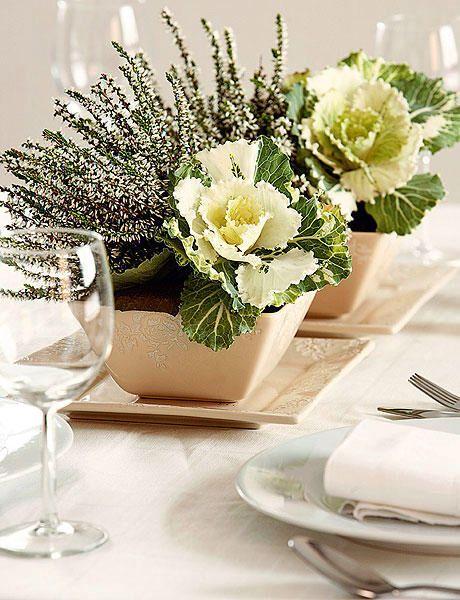 #eventos coles green cream en un arreglo para mesa de banquetes (centro de mesa), le agrega un toque de distinción y belleza natural. Nuestra propuesta