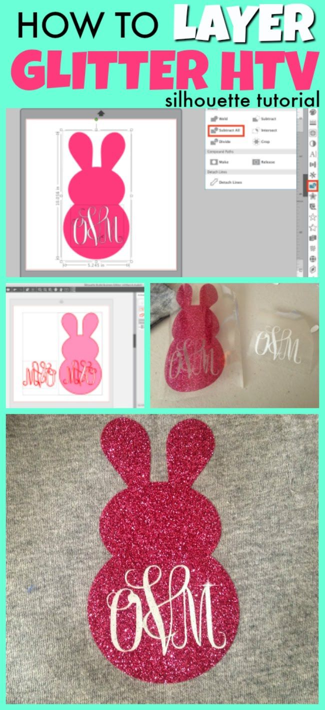 How to Layer Glitter Heat Transfer Vinyl with Silhouette (V4 Tutorial) #cricutvinylprojects