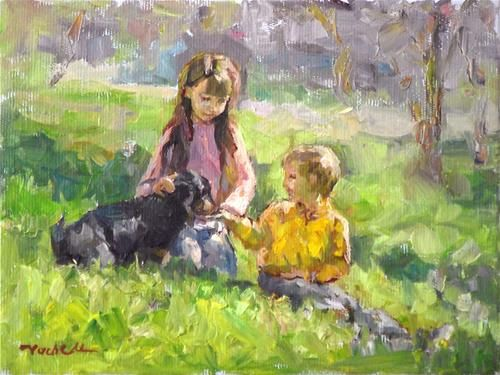 """""""Children and the Dog"""" - Original Fine Art for Sale - ©Vach Manukyan"""