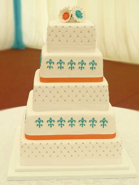 Turquoise And Orange Cake By Genuine Cakes Watford