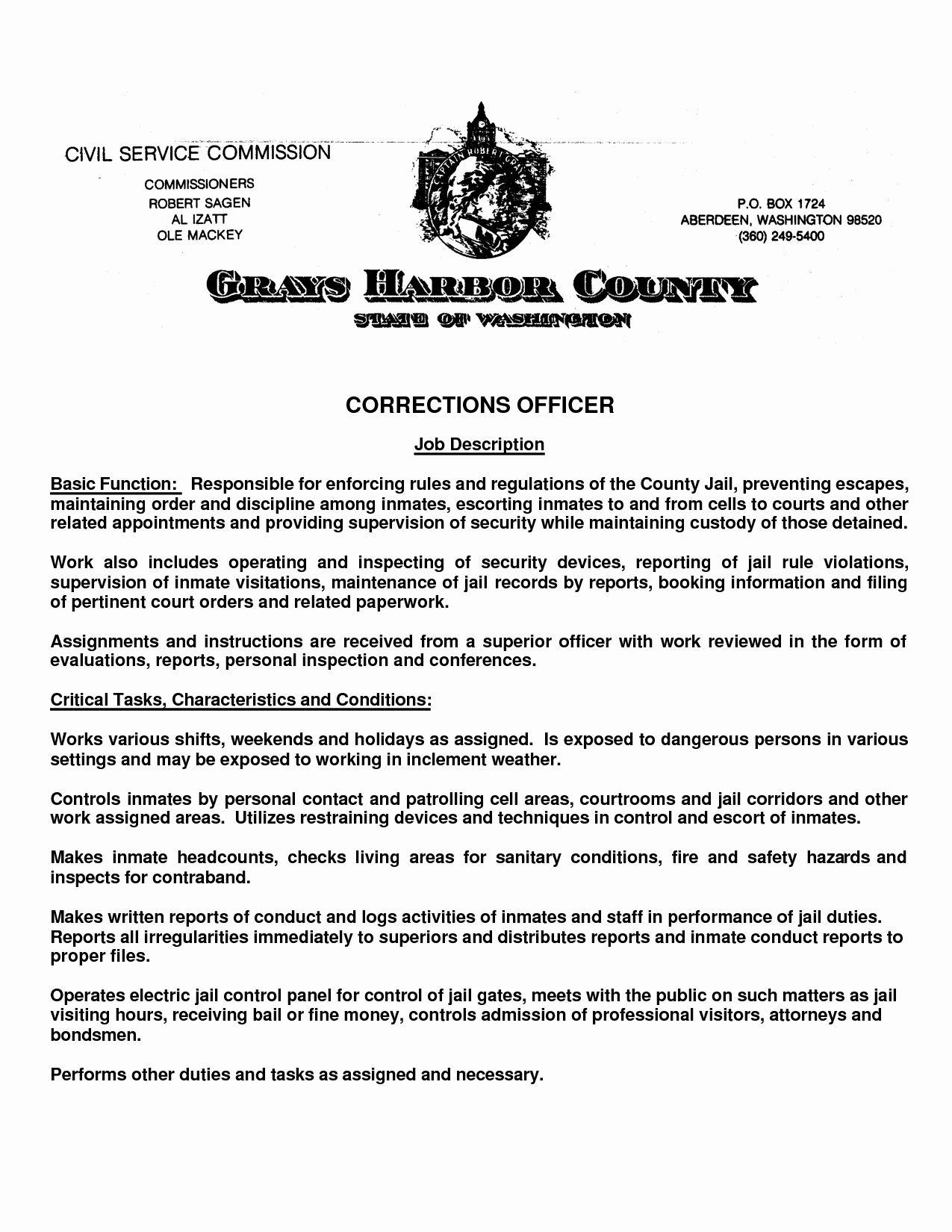 Correctional officer job description resume awesome