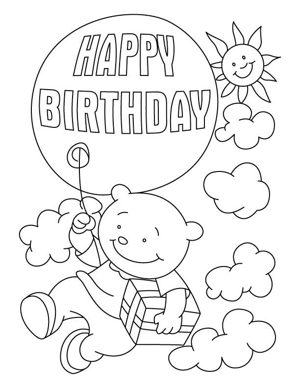 Flying with a birthday balloon coloring pages   Happy ...