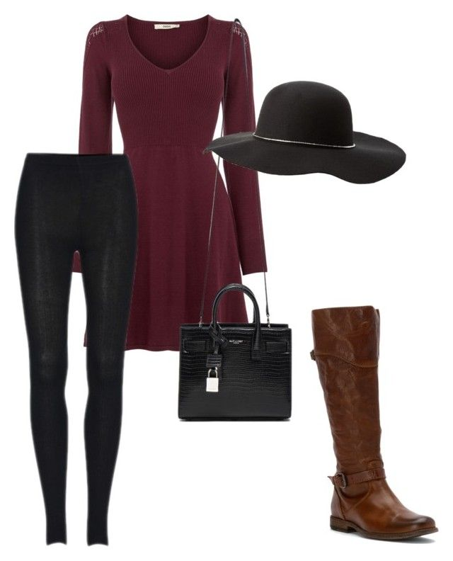 """fancy for fall"" by melissakelleyy ❤ liked on Polyvore featuring moda, Oasis, Yves Saint Laurent, Frye i Charlotte Russe"