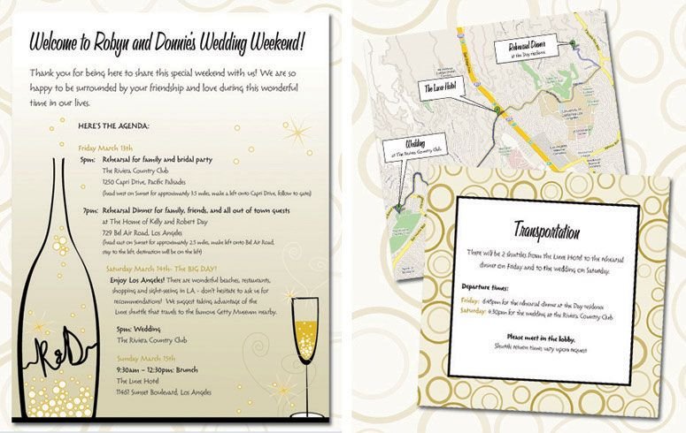 Wedding Agenda Destination Wedding Invitation Trifold Weekend