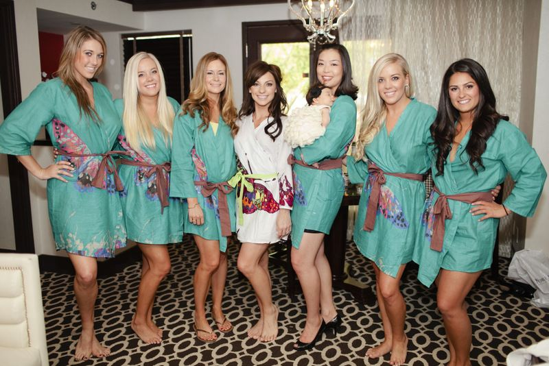 Teal Big Butterfly themed wedding Robes for bridesmaids | Getting ...