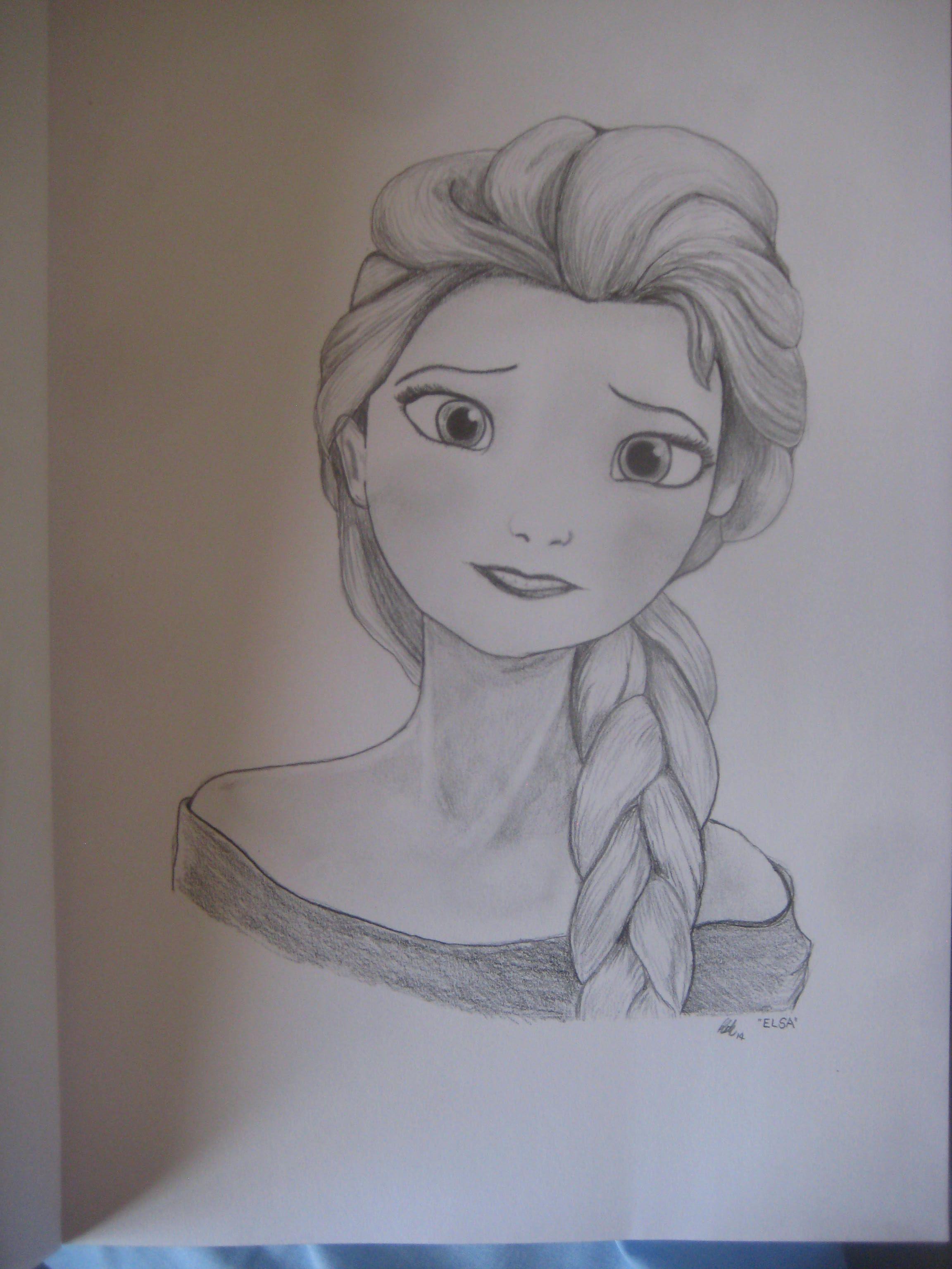 Elsa from frozen pencil drawing drawing drawings pencil