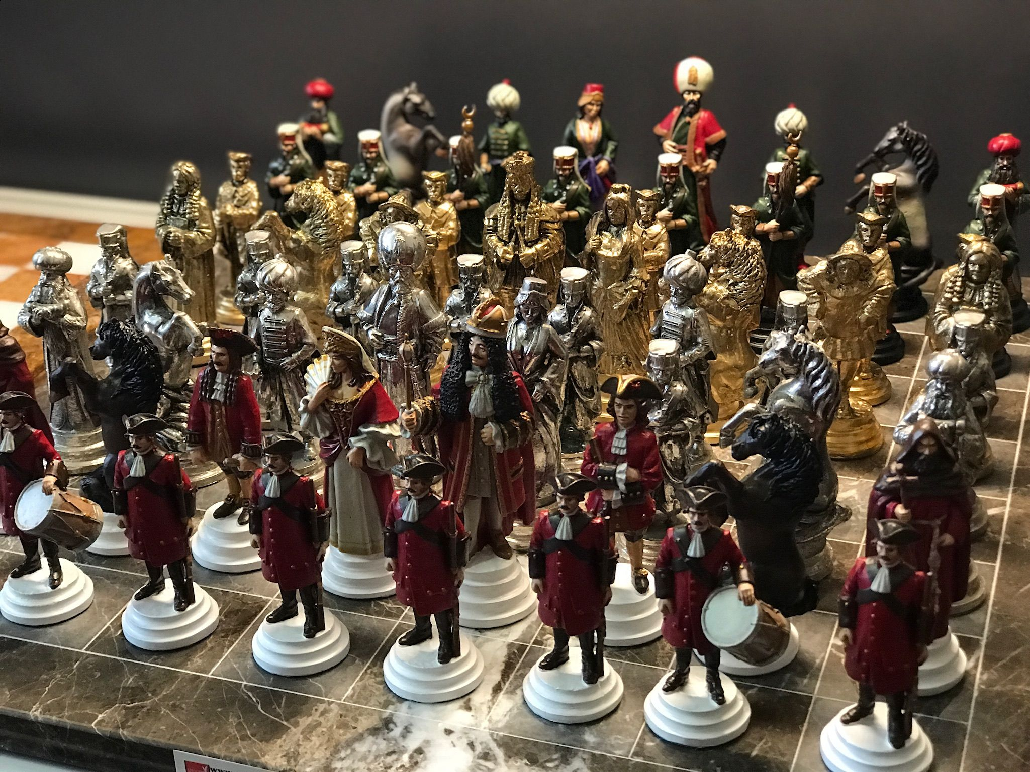 Unique Handmade Chess Set Hand Painted Pewter Handcrafted