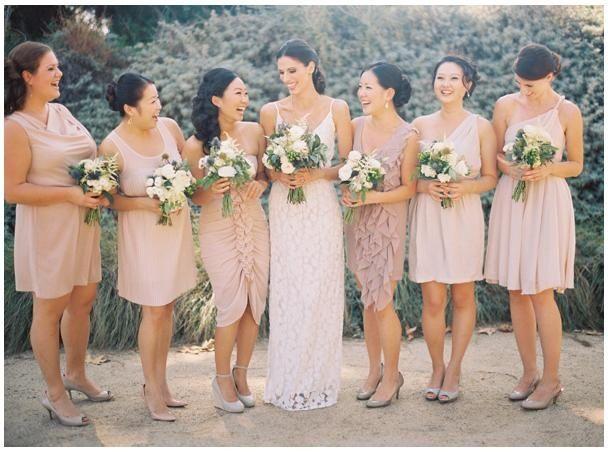 Mismatched Blush/Rose/Mauve bridesmaids dresses | Blush & Gold ...