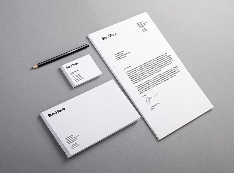 Blank basic stationery letterhead flat business card envelope letterhead flat business card envelope mock upfree presentation templatesbrand flashek Choice Image