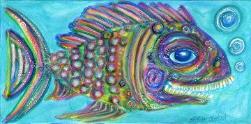 Colorful Fish Art Print by Erika Jolnson Rainbow Shamoo 7 x 14 in    177.8 x 355.6 mm. $15.00, via Etsy.