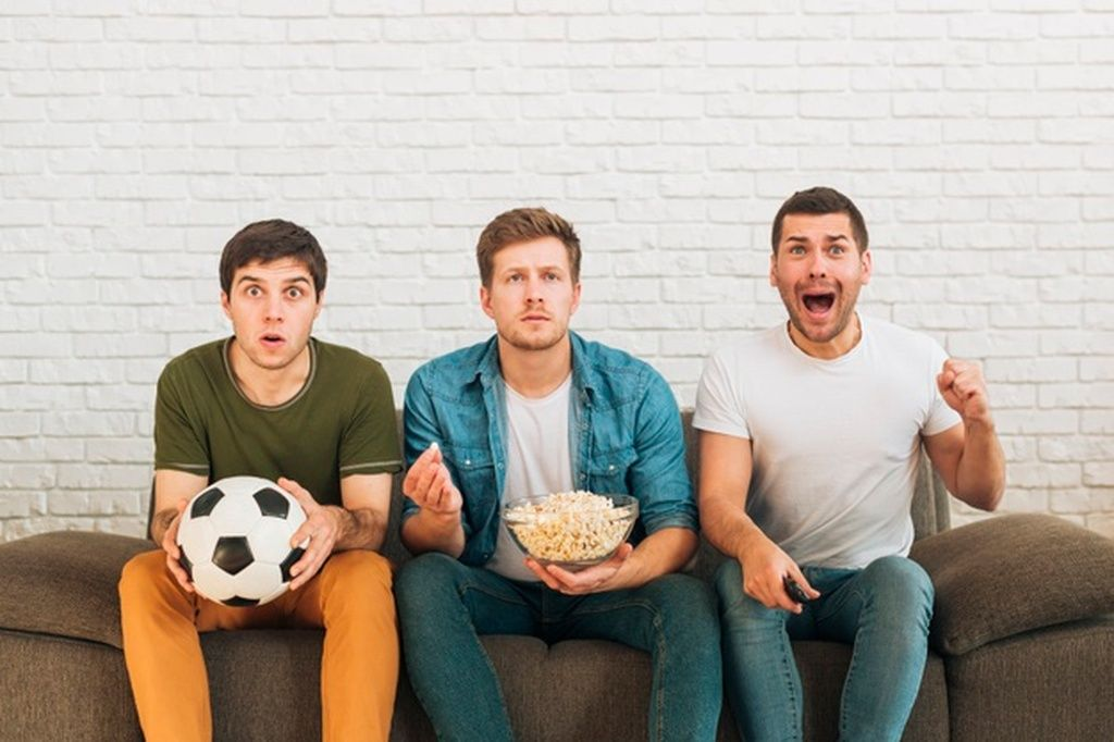 Male Fans Watching A Football Match On Tv At Home Paid Paid Ad Watching Football Home Fans In 2020 Football Match Soccer Match Football