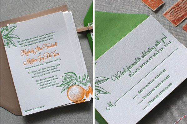 Citrus Themed Wedding Invites