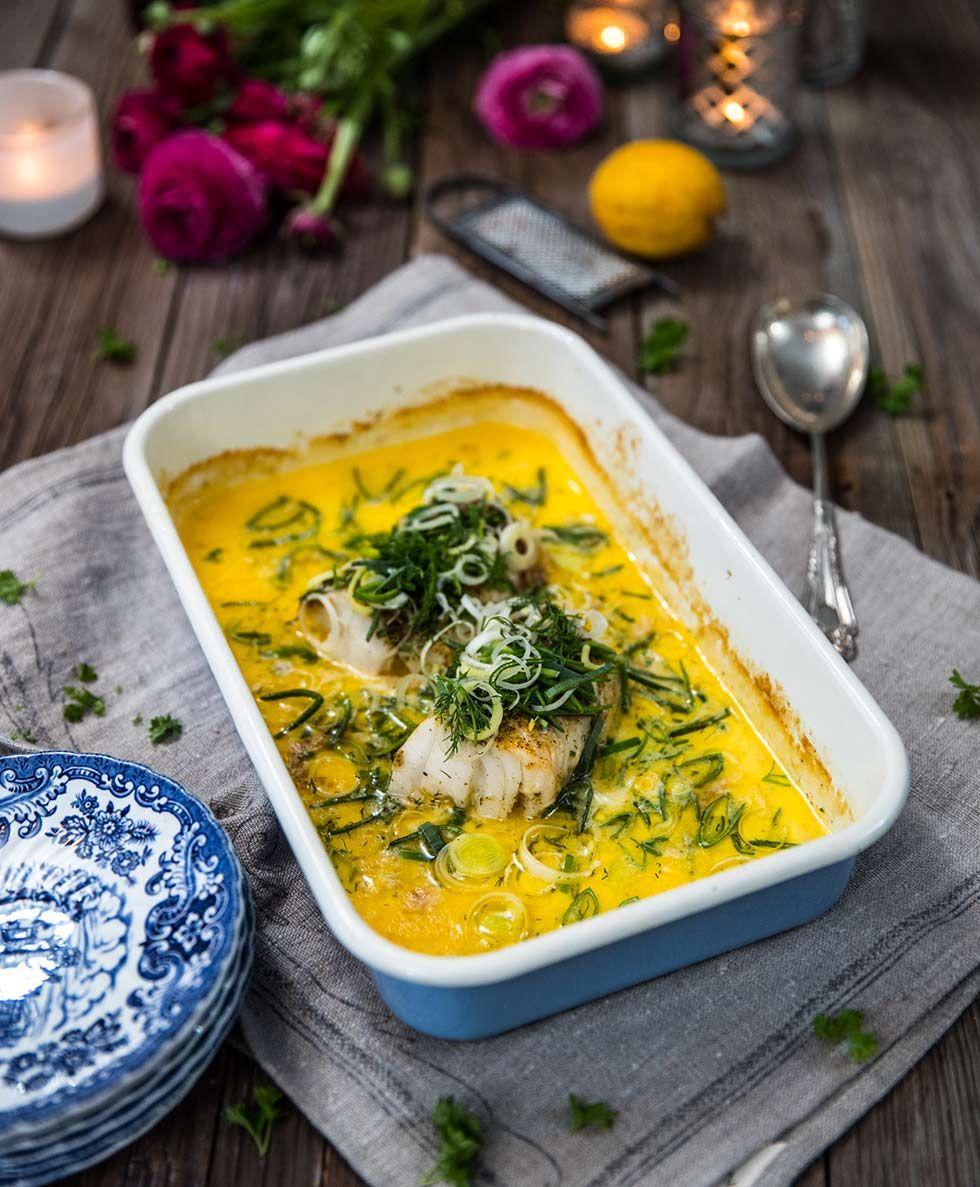 torsk i ugn med purjolök och grädde