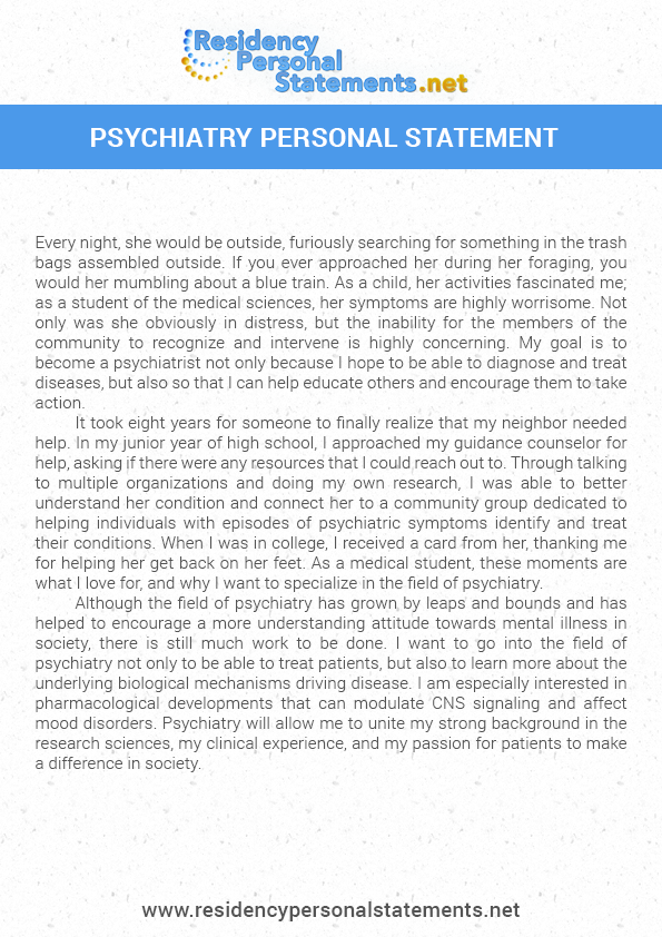 psychiatry residency personal statement