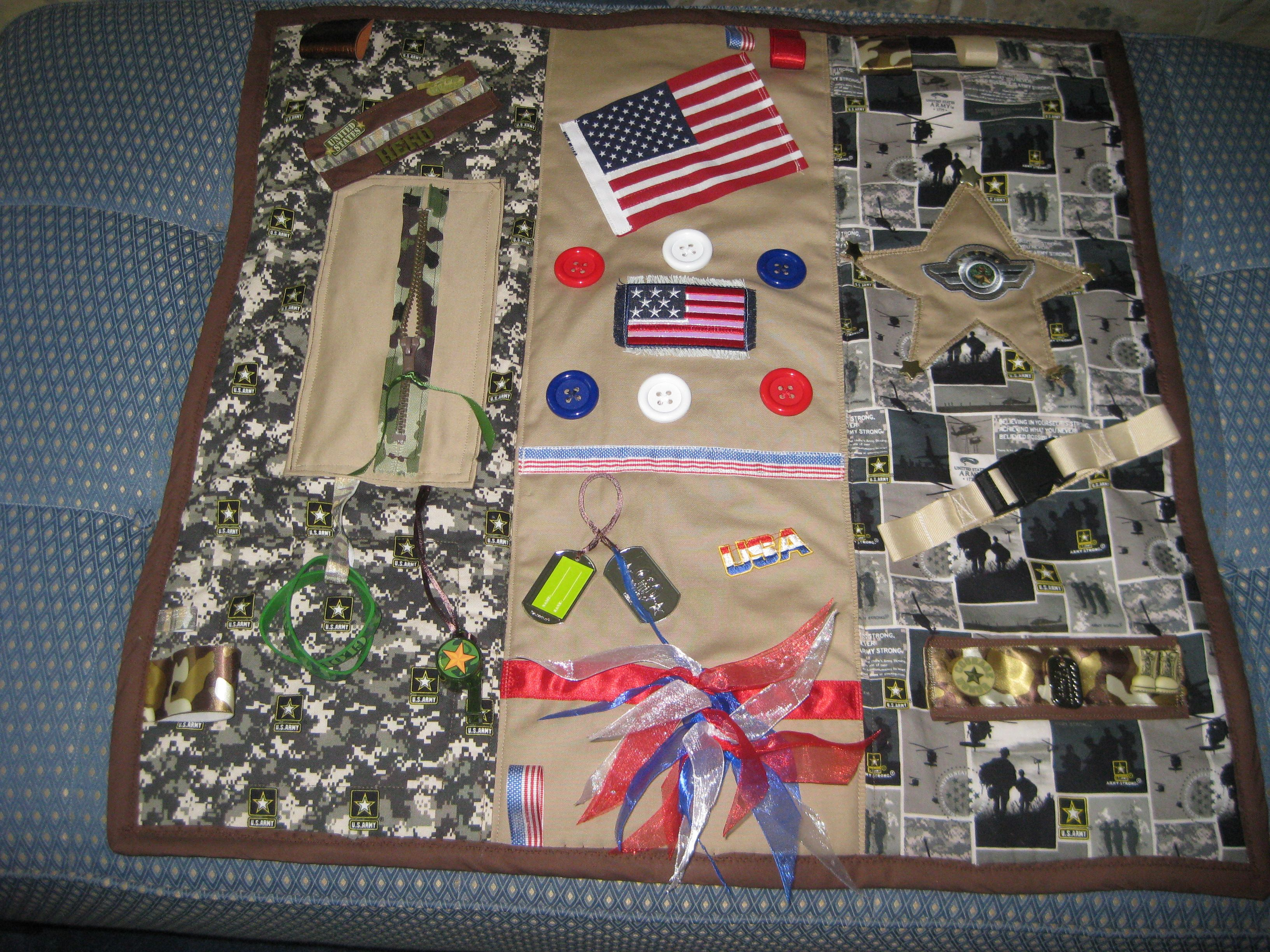 My 1st Attempt At A Military Themed Fidget Blanket For My Residents With Alzheimer S More