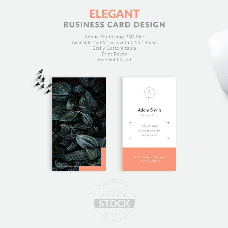 Elegant Business Card Design Minimal Business Card Template Etsy Business Card Design Minimal Elegant Business Cards Elegant Business Cards Design