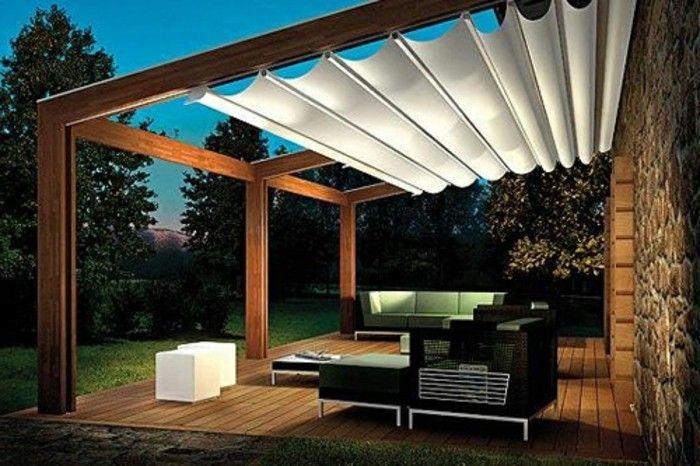 Moderne häuser mit holz  originelle pergola aus holz modernes design weiße überdachung ...