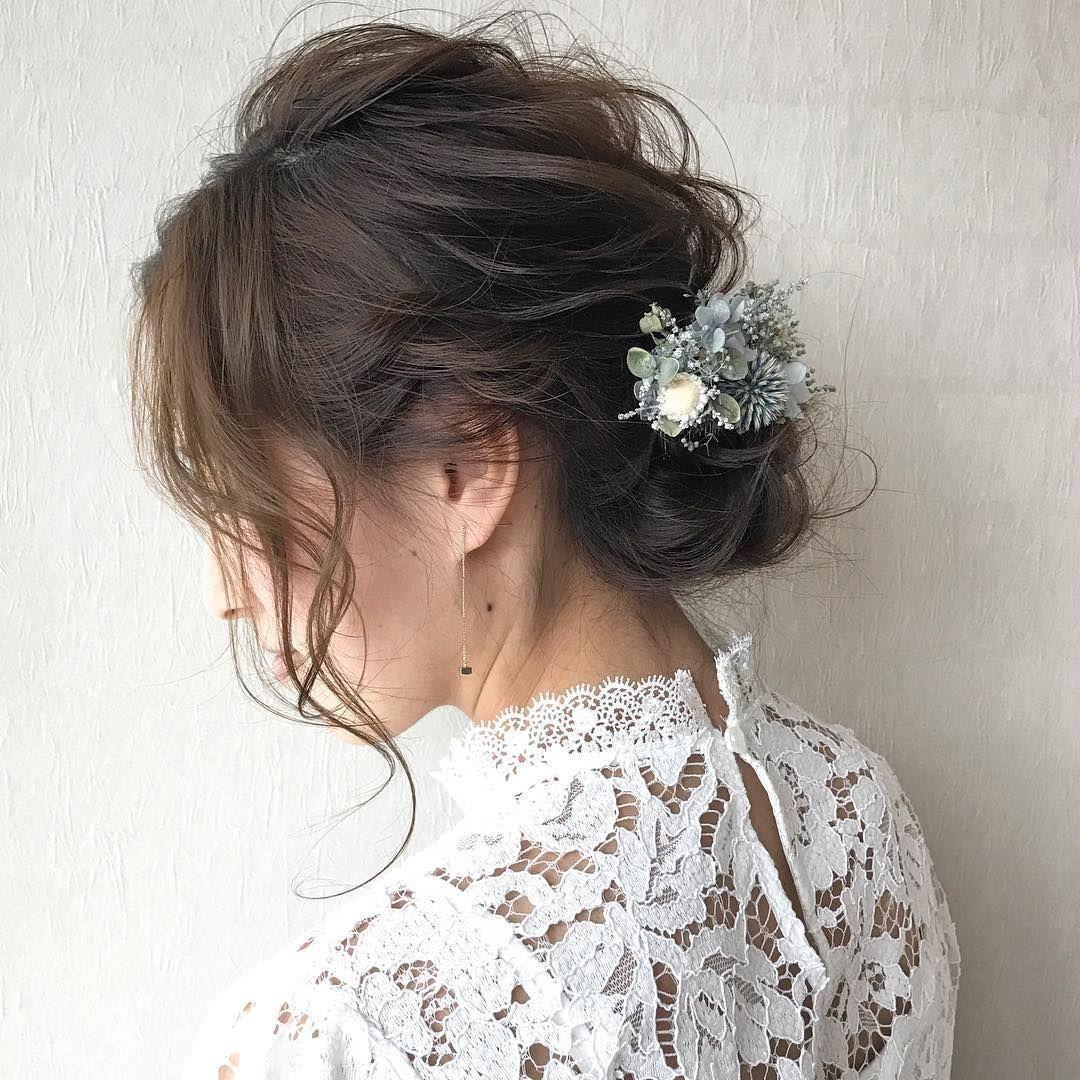 Wedding シルバーブルーの葉とお花の大人色のヘアアレンジ