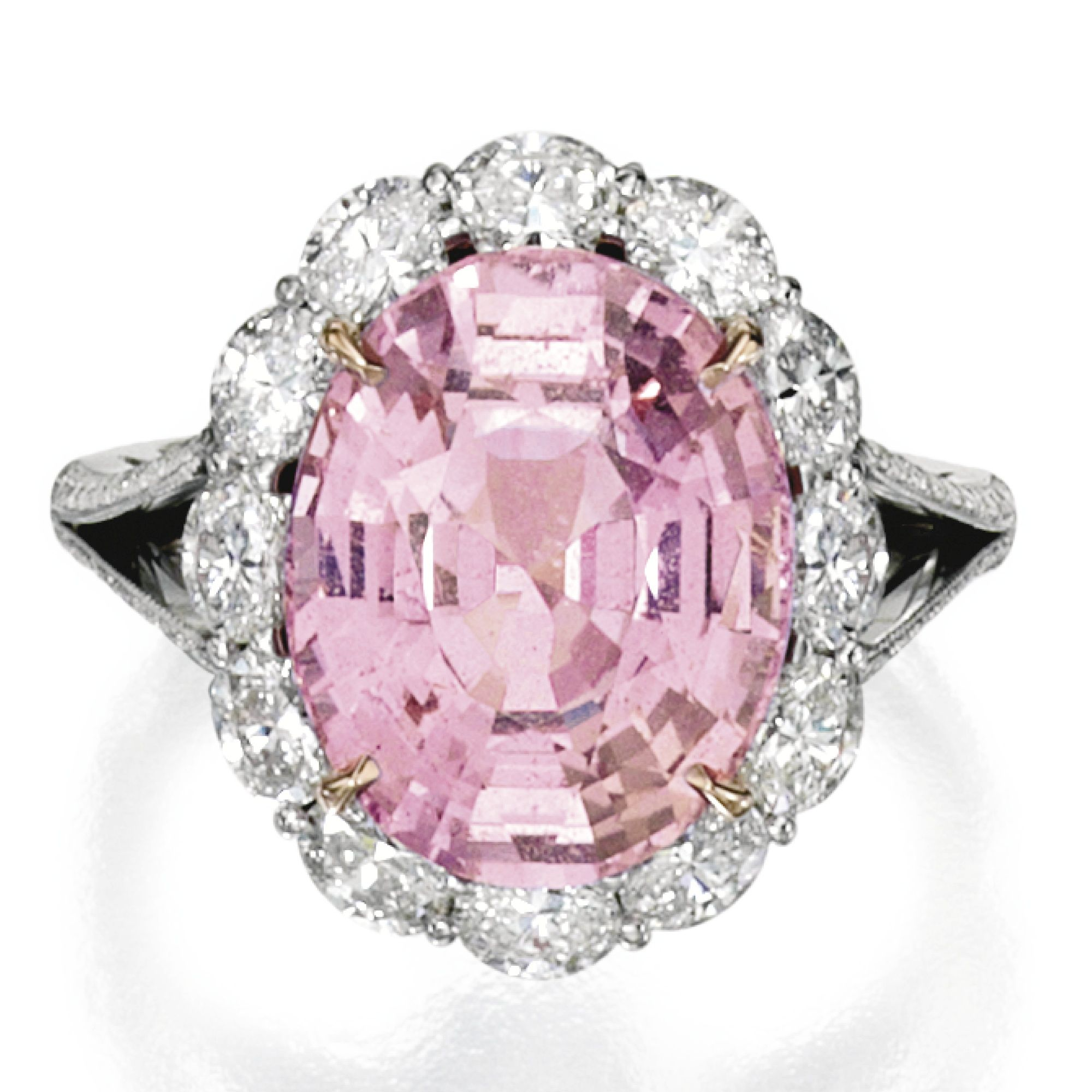 rose engagement diamond in tw setting platinum and ring gold