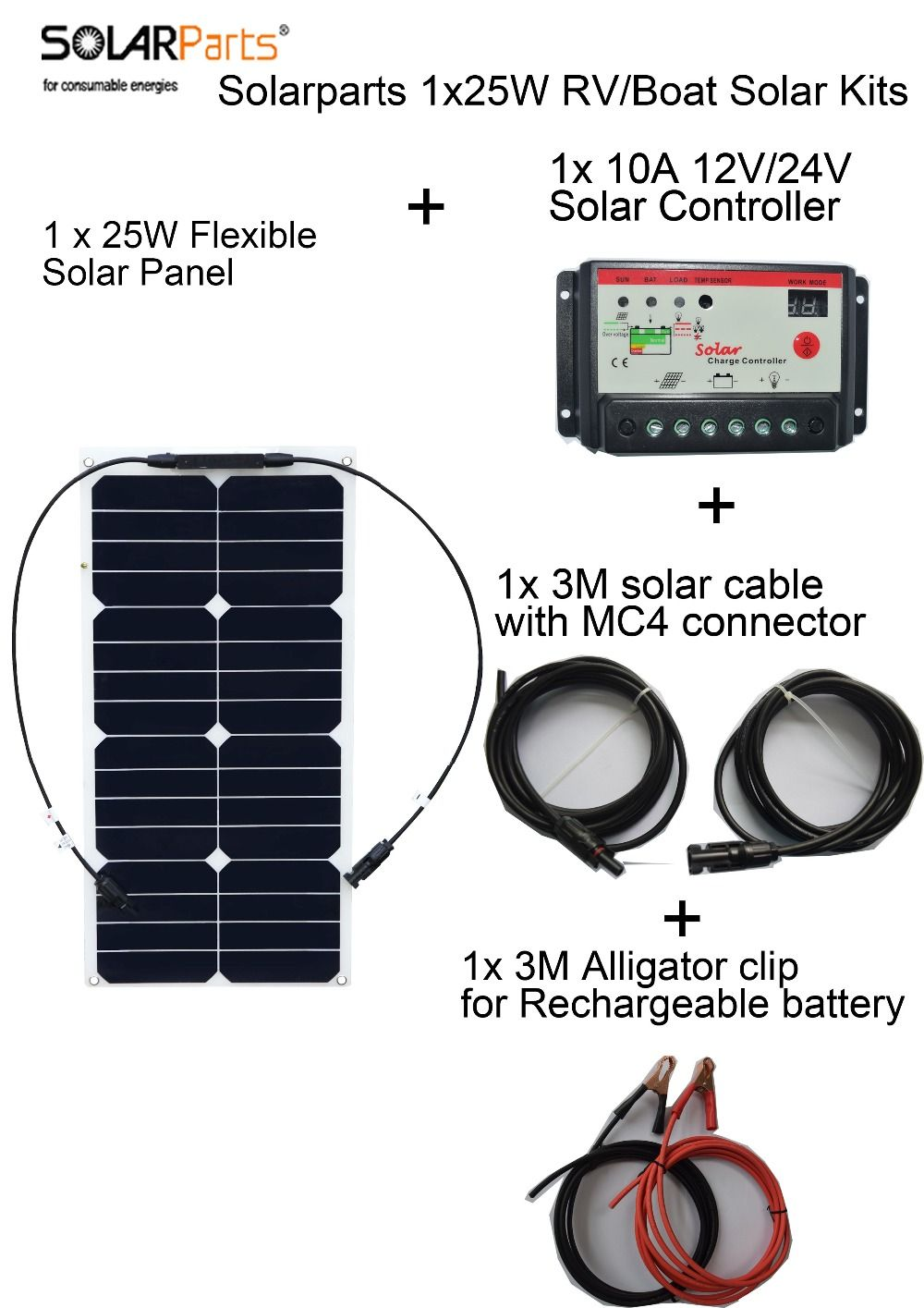 Solarparts 25w Flexible Solar Panel System Solar Cell Controller Cable For Yacht Rv Light 12v Batt Flexible Solar Panels Solar Technology Solar Heating System