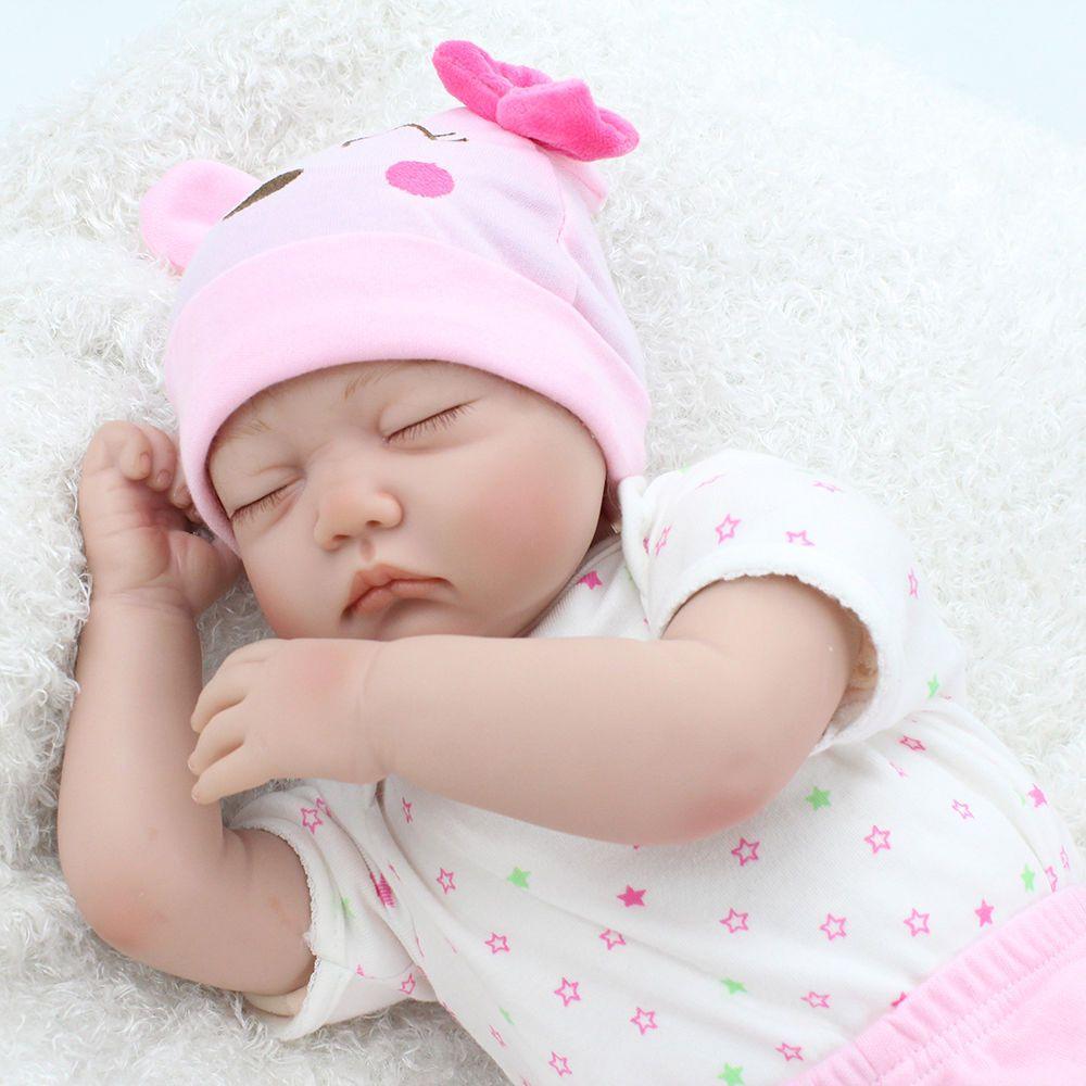 "22/"" Handmade Reborn Cute Baby Newborn Lifelike Silicone Vinyl Sleeping Girl Gift"