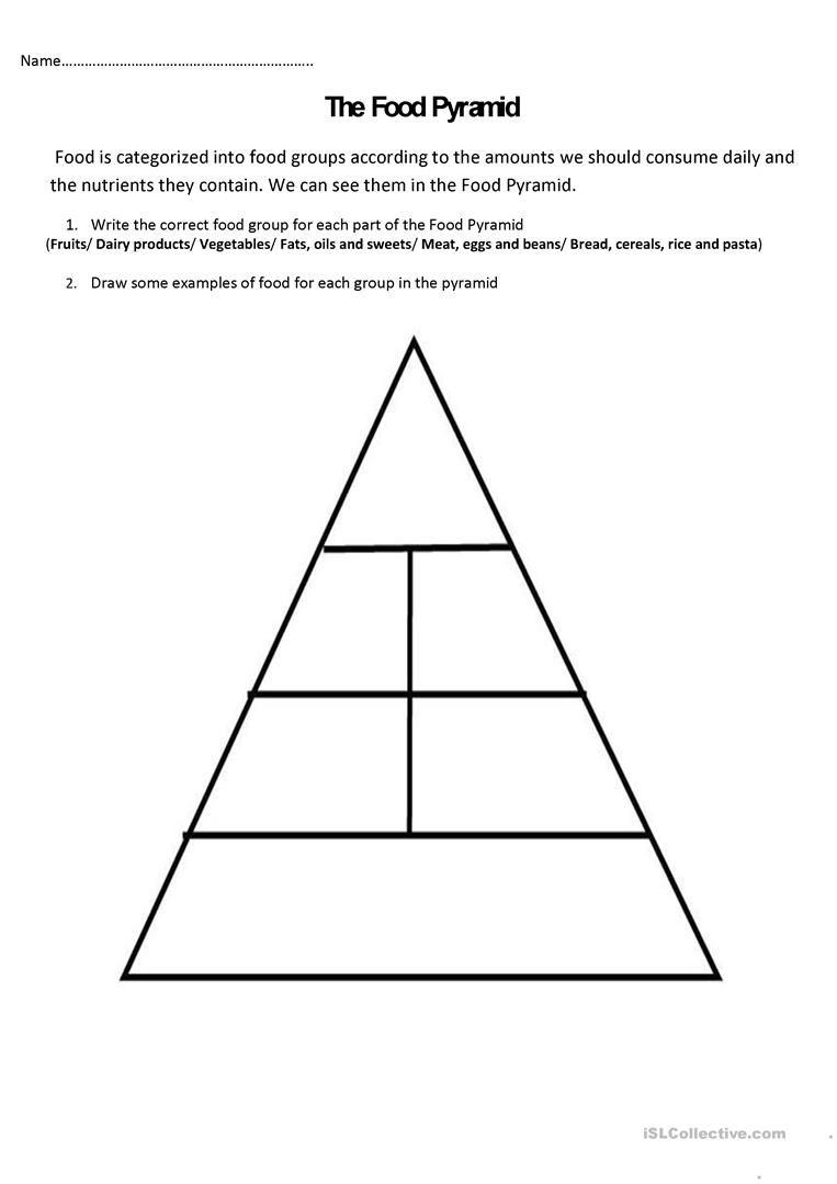 The Food Pyramid And Nutrients English Esl Worksheets Food Pyramid Pyramids Healthy Habits Preschool [ 1079 x 763 Pixel ]