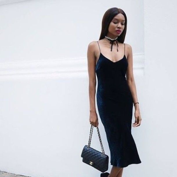 Dress: tumblr blue midi slip velvet choker necklace necklace accessories bag black bag chanel chanel