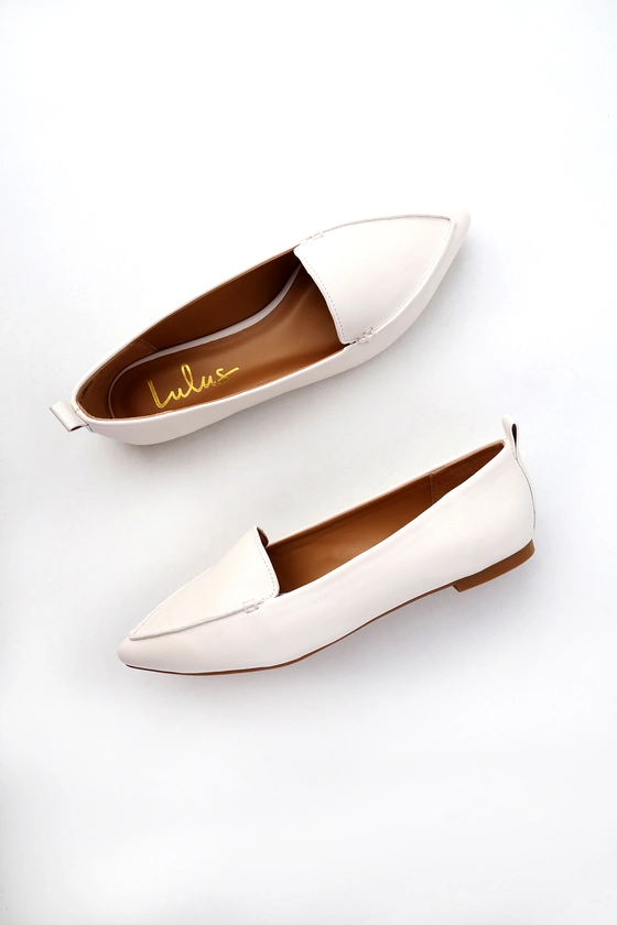 Emmy White Pointed Loafers in 2020