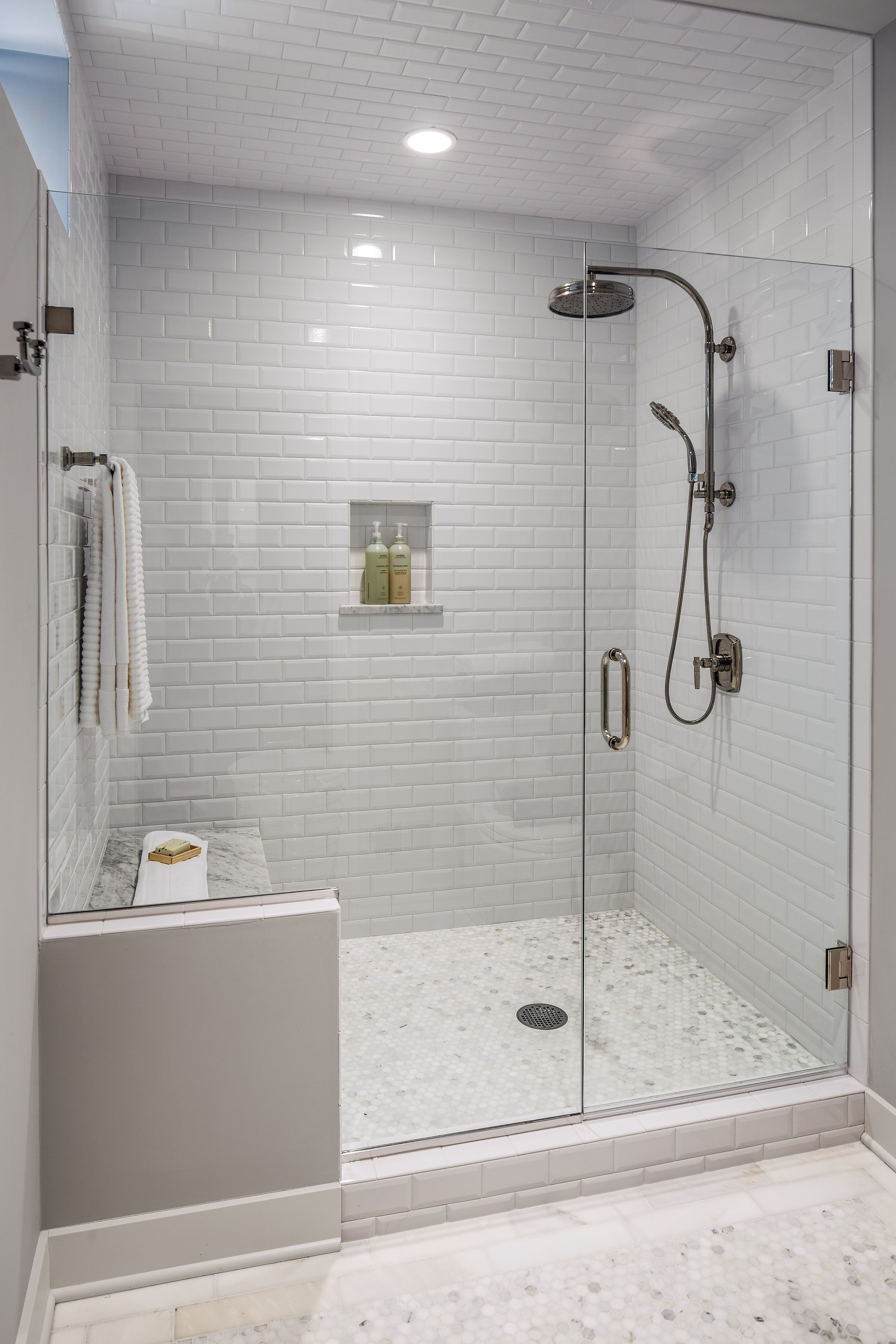 The guest bath had a shower area that was dated and