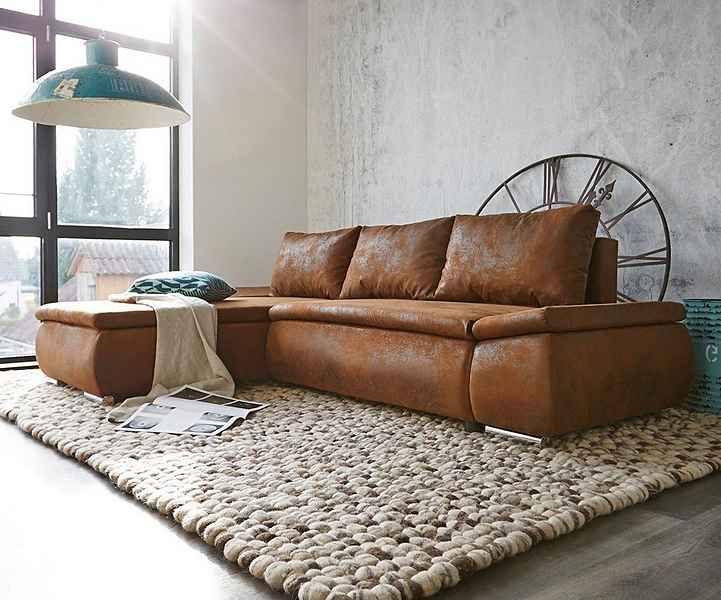 Polstermöbel landhausstil leder  DELIFE Couch Clovis Schwarz mit Hocker Wohnlandschaft | Couch ...