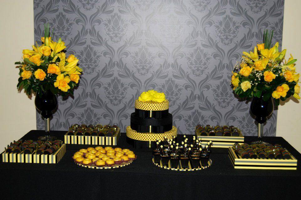 decoração de casamento simples amarelo e preto - Pesquisa Google