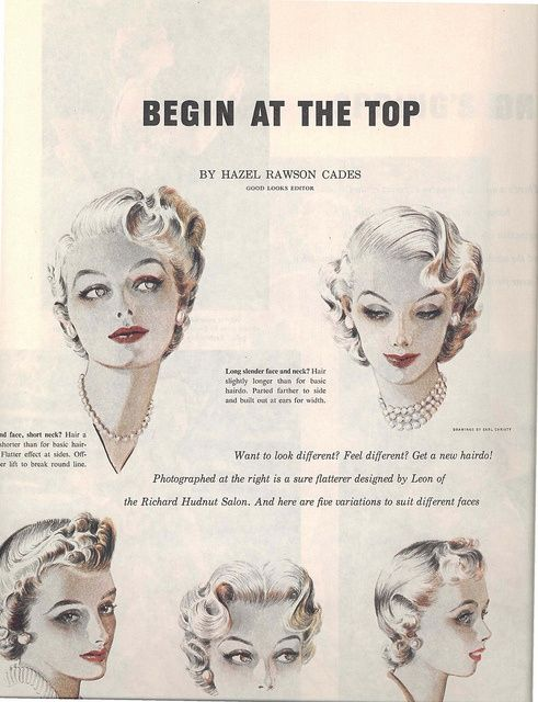 1950 S Hair Begin At The Top 1953 Which Would Suit You Vintage Hairstyles Hair Doo Retro Hairstyles