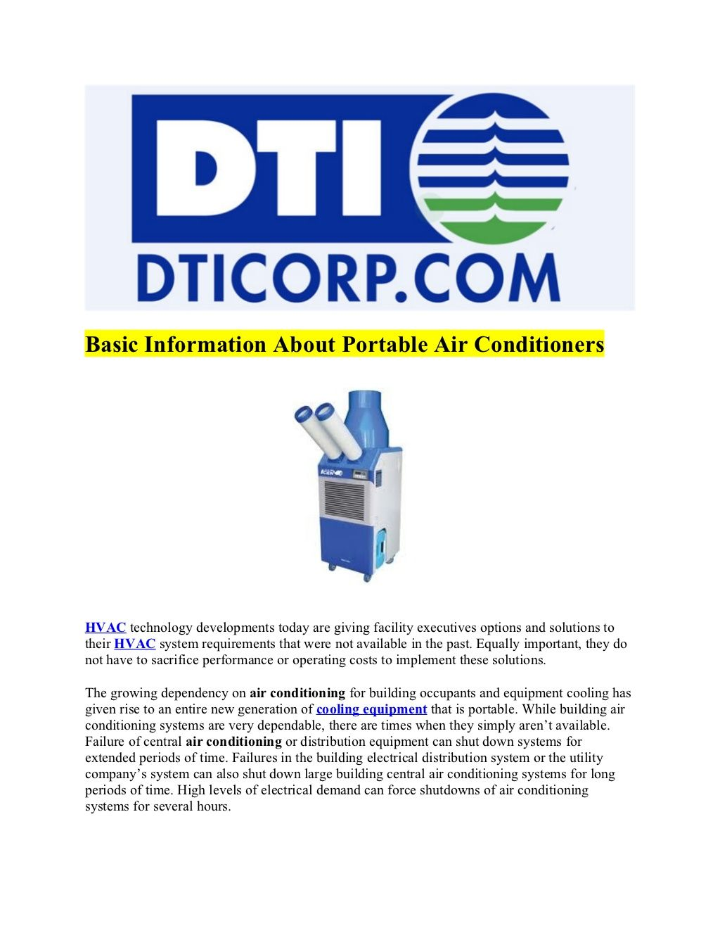 Basic Information About Portable Air Conditioners